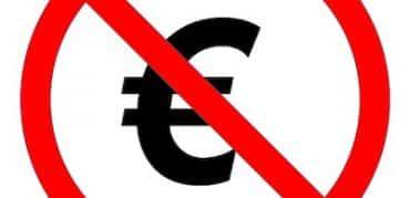 Verbotschild mit durchgestrichenem Euro-Zeichen.