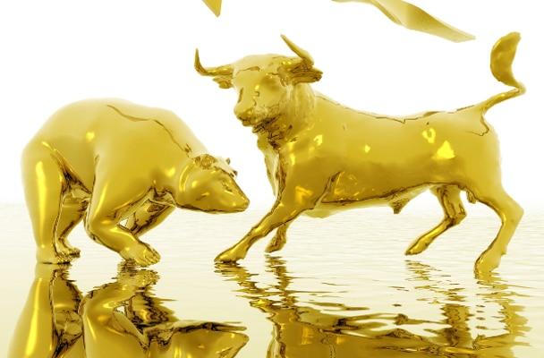 Symbolbild von einem goldenen Bulle und Bären.