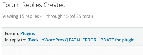 BackUpWordPress Plugin Fatal Error